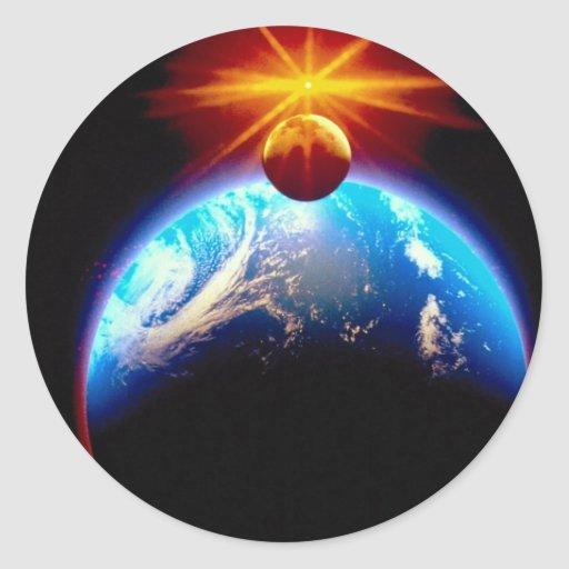 Earth and moon with sun sticker
