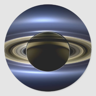 Earth and Saturn Classic Round Sticker