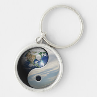Earth and Sky Yin Yang Silver-Colored Round Keychain