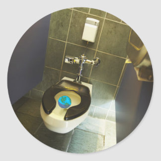Earth and the Toilet Classic Round Sticker