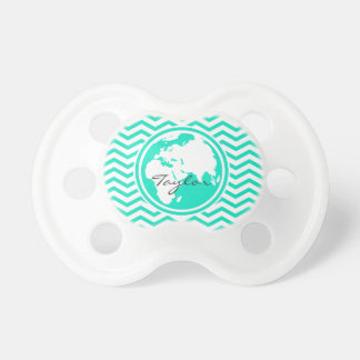 Earth Aqua Green Chevron Pacifiers