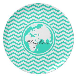Earth Aqua Green Chevron Plate