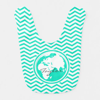 Earth Aqua Green Chevron Baby Bibs