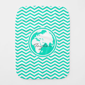 Earth Aqua Green Chevron Baby Burp Cloths