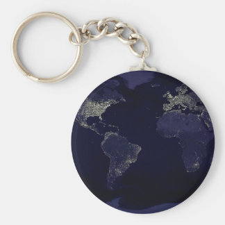 Earth at Night Basic Round Button Keychain