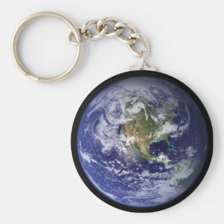 Earth Basic Round Button Keychain