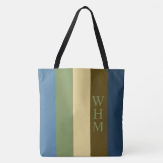 Earth Blanket Palette Stripe Monogram Diaper Tote Bag