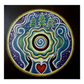 Earth Blessing Mandala Poster