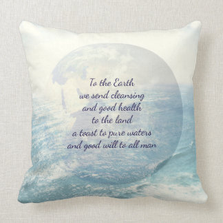 Earth blessing throw pillow