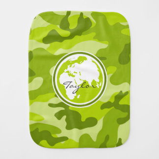 Earth bright green camo camouflage baby burp cloths