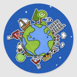 earth button classic round sticker