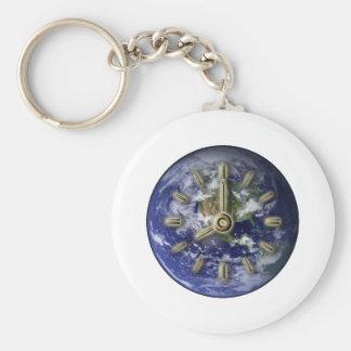 Earth clock keychain