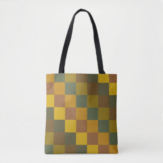 Earth colored checkered pattern. tote bag