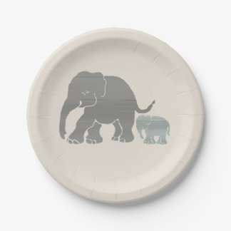Earth Colors Graphic Elephant Mother and Baby 7 Inch Paper Plate