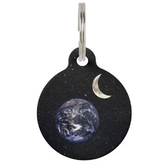 Earth Crescent Moom Majestic Starry Nebula Night Pet Name Tag