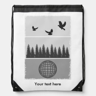 Earth Day Black And White Drawstring Bag