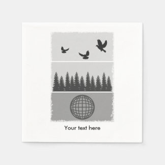 Earth Day Black And White Paper Napkin