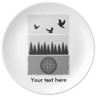 Earth Day Black And White Plate