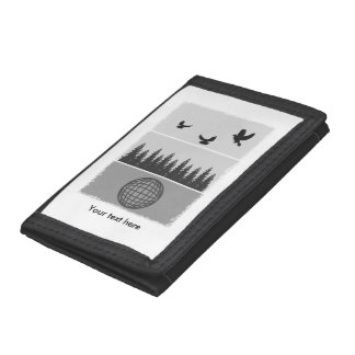Earth Day Black And White Trifold Wallets