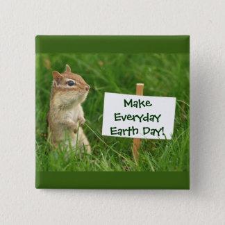 Earth Day Chipmunk 2 Inch Square Button