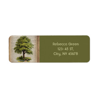 Earth Day ECO dictionary prints vintage oak tree Return Address Label