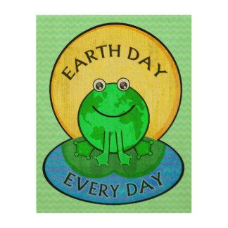 Earth Day Environmental World Frog Wood Wall Art Wood Canvas