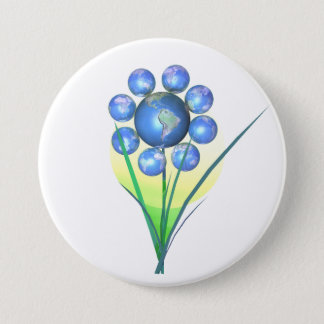 Earth Day Flower 3 Inch Round Button