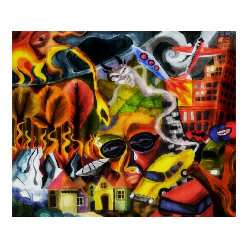 Earth Day global warming painting poster