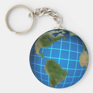 Earth Day Globe Basic Round Button Keychain