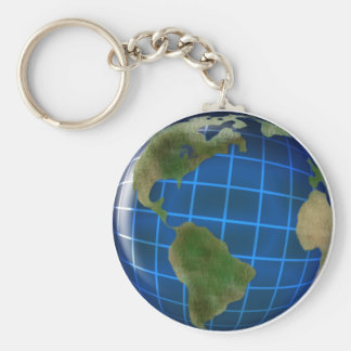 Earth Day Globe with Deep Blue Sea Basic Round Button Keychain