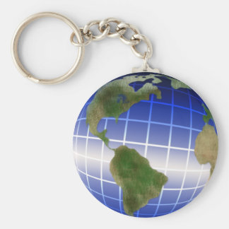 Earth Day Globe with Equator Highlight Basic Round Button Keychain