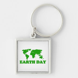 Earth Day Grass Map Keychain