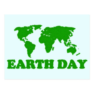 Earth Day Grass Map Postcard