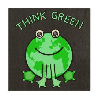 Earth Day Green Globe Frog Wood Wall Art Wood Prints