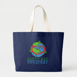 Earth Day: Keep Mother Nature Green & Recycled Large Tote Bag