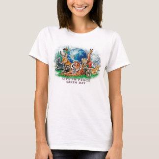 Earth Day Live In Peace Wildlife Animal Tee Shirt