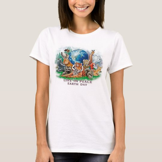 Earth Day Live In Peace Wildlife Animal Tee Shirt