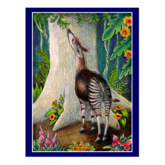 Earth Day Okapi Rainforest post card