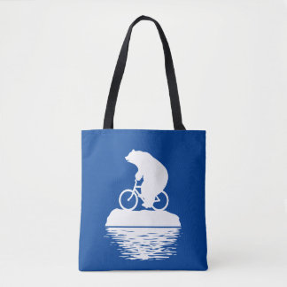 EARTH DAY: Polar Bear Bicycle Reusable Tote Bag