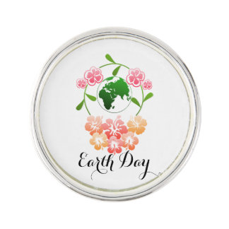 """Earth Day"" Pretty Floral Lapel pin. Lapel Pin"