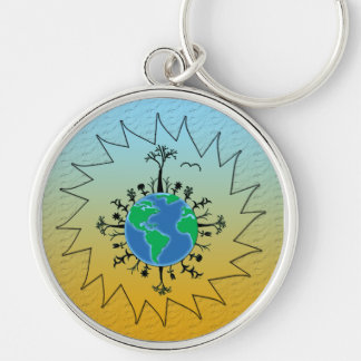 Earth Day Silver-Colored Round Keychain