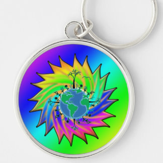 Earth Day ~ Sunburst Silver-Colored Round Keychain