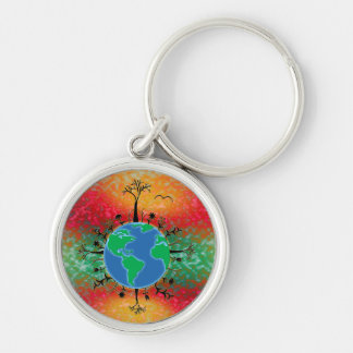 Earth Day ~ Sunrise Silver-Colored Round Keychain