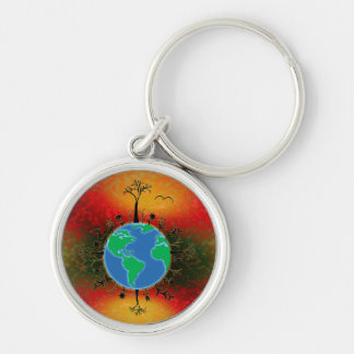 Earth Day ~ Sunset Silver-Colored Round Keychain