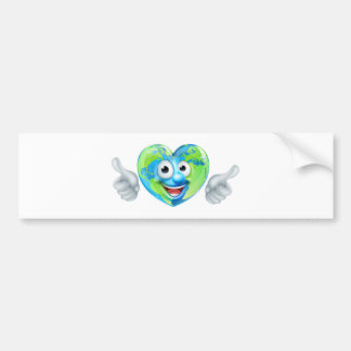 Earth Day Thumbs Up Heart Mascot Cartoon Character Bumper Sticker