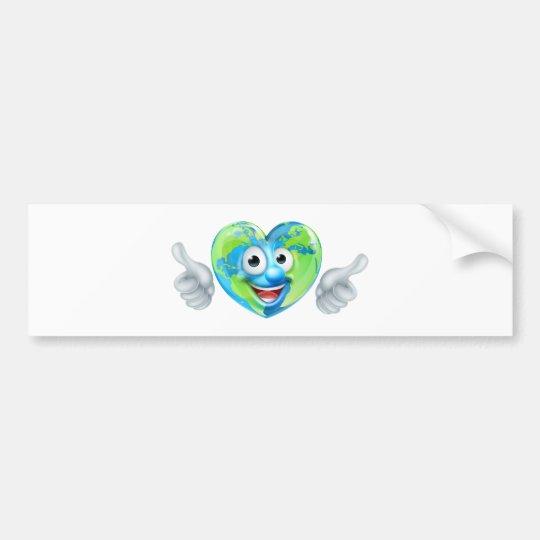 Earth Day Thumbs Up Heart Mascot Cartoon Character Bumper Sticker