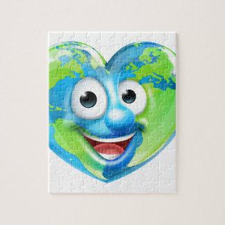 Earth Day Thumbs Up Heart Mascot Cartoon Character Jigsaw Puzzle