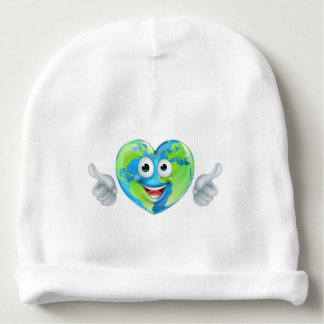Earth Day Thumbs Up Mascot Heart Globe Cartoon Cha Baby Beanie