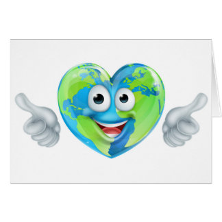 Earth Day Thumbs Up Mascot Heart Globe Cartoon Cha Card