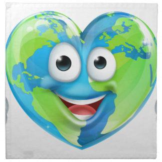 Earth Day Thumbs Up Mascot Heart Globe Cartoon Cha Napkin